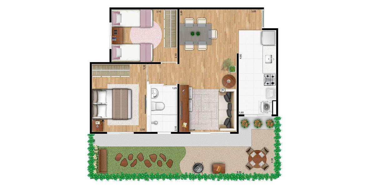 Planta do Villa Matão Residencial. 59 M² - 2 DORMS. Apartamento em Sumaré com planta semelhante à de 45 m² com o diferencial do amplo terraço gramado, uma ótima opção famílias maiores e para quem gosta de receber os amigos para um churrasco de vez em quando.