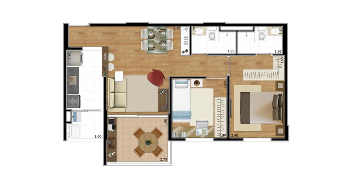 Planta do Perfetto Ibitirama. 53 M² - 2 DORMS., SENDO 1 SUÍTE. Apartamento na Vila Prudente com 2 dormitórios, sendo uma suíte com closet para o casal. A sala se integra à cozinha e à varanda. Ótimos preços!