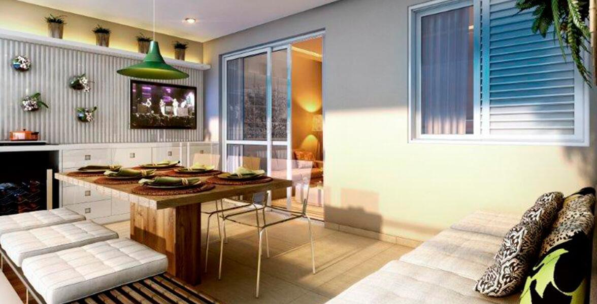 VARANDA do apto de 72 m² com quase 5 metros de frente, espaço suficiente para acomodar sua mesa de jantar e receber bem os amigos.