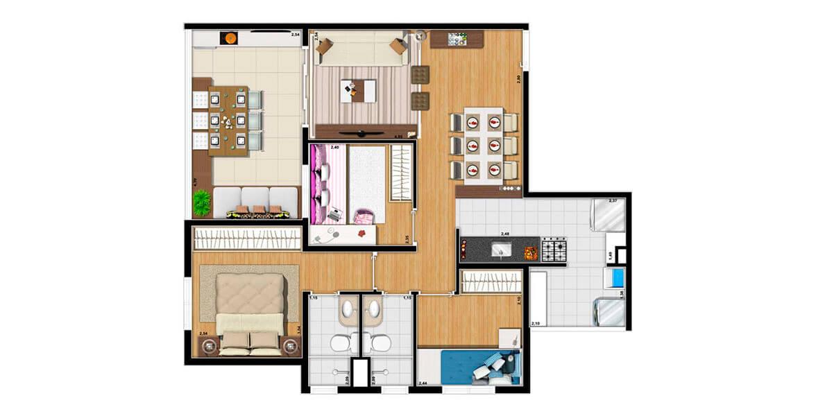 72 M² - 3 DORMS., SENDO 1 SUÍTE. Apartamento na Saúde com 3 dormitórios, especial para famílias maiores. Ambos banheiros contam com ventilação natural. A sala de jantar se integra perfeitamente à cozinha por ampla bancada. Até 2 vagas!
