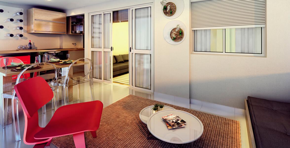 TERRAÇO do apto de 64 m² com bastante espaço para receber os amigos, integrado à sala e à cozinha do Yang Brooklin