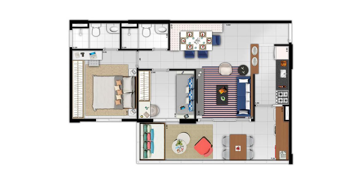 Planta do Yang Brooklin. 64 M² - 2 DORMS., SENDO 1 SUÍTE. Apartamento no Brooklin com 2 dormitórios e uma ótima área social, que se apropria da cozinha devido à integração com a sala e a ampla varanda - o grande destaque do apto.