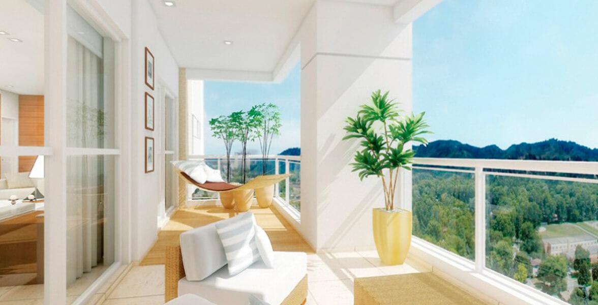 TERRAÇO do apto de 266 m² com 11 m de frente e guarda-corpo de vidro do Cena Golf Club