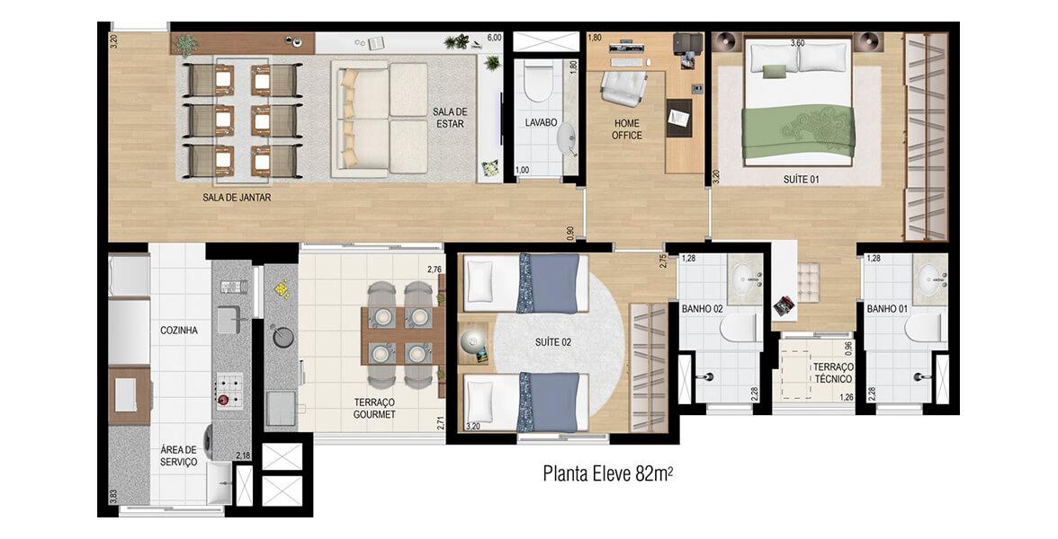 82 M² - 2 SUÍTES. Apartamento em Jundiaí com espaço para Home Office, muito útil para profissionais com liberdade de trabalhar de casa ou para filhos usarem como sala de estudos. Terraço Gourmet conta com infra para churrasqueira.