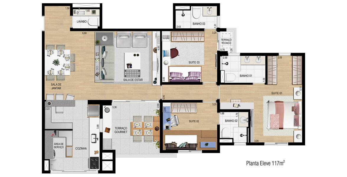 Planta do Eléve Jundiaí. 117 M² - 3 SUÍTES. Apartamento em Jundiaí com 3 suítes para grandes famílias, tem uma ampla suíte para o casal com closet, banheiro com cuba dupla e espaço para home office. A Cozinha com bancada é uma ótima dica para integrar ao Living.