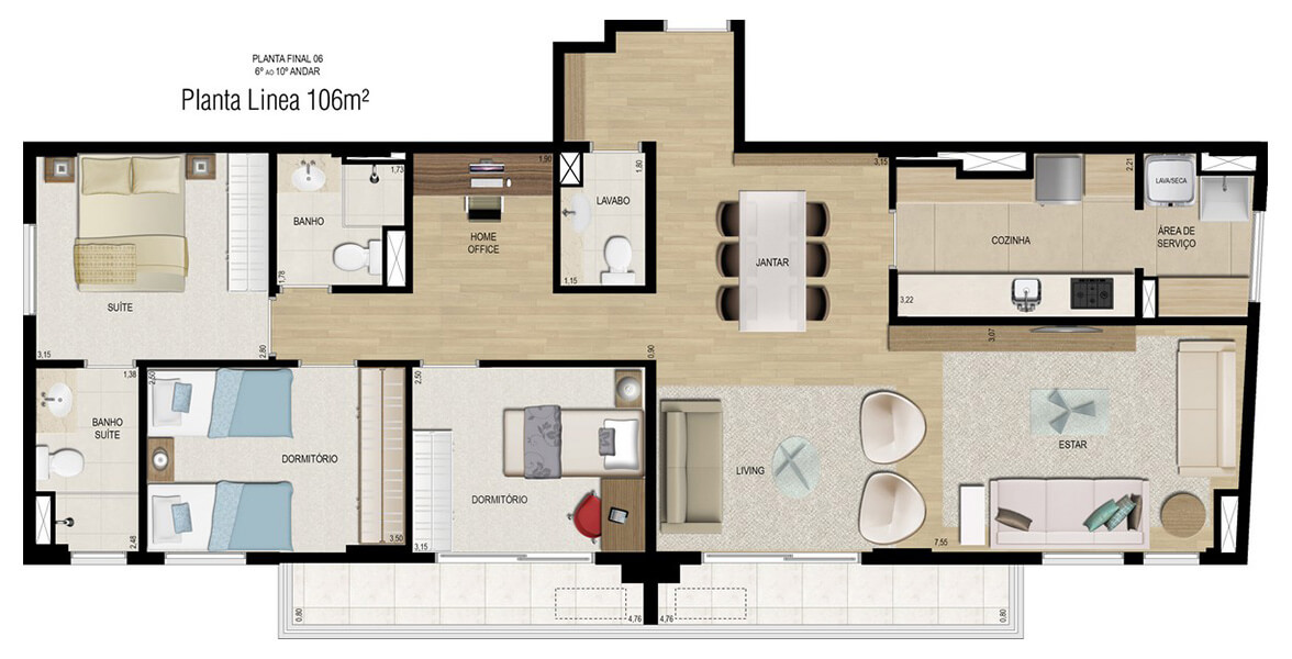 Planta do Línea Home Style. floorplan