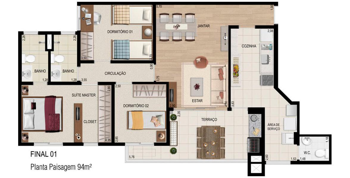 94 M² - 3 DORMS., SENDO 1 SUÍTE. Apartamento em Alphaville com 3 dormitórios, sendo uma ótima suíte para o casal com closet e infra para ar-condicionado. O amplo terraço com 5,7 m de frente se integra ao Living e à Cozinha.