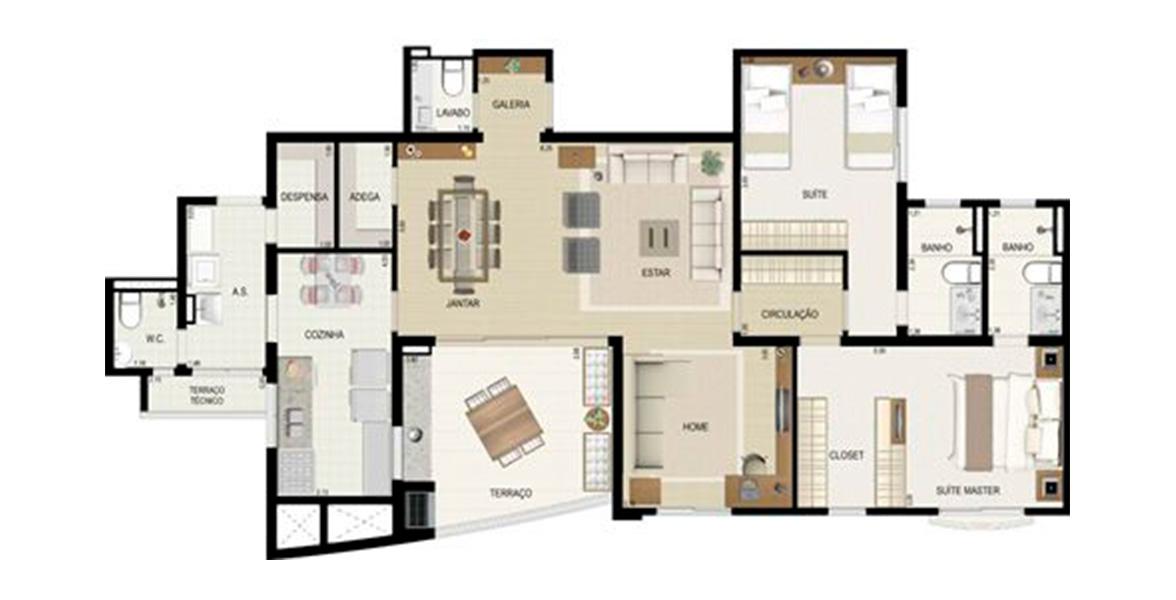 122 M² - 2 SUÍTES. Apartamentos em Tamboré com ambientes generosos, tanto as 2 suítes quando Living, Cozinha e Área de Serviço. Especial para que busca conforto de casa, na tranquilidade e segurança de um condomínio. 2 vagas.