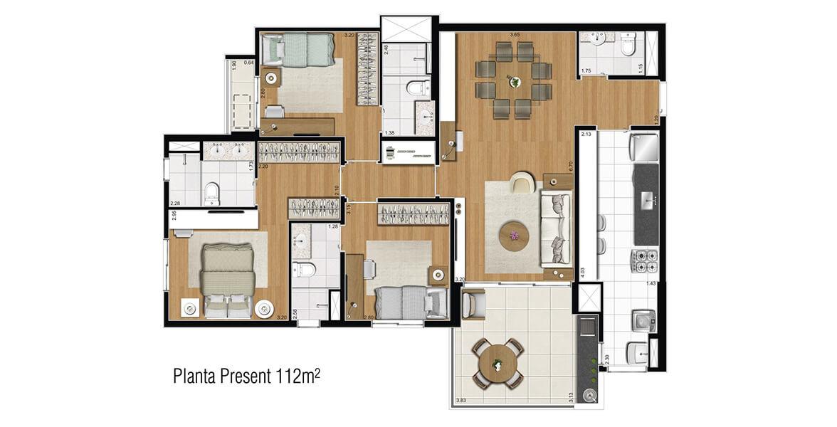 112 M² - 3 SUÍTES. Apartamento em Alphaville com 3 suítes para as grandes famílias, mantém um ótimo Living e agora o Terraço Gourmet em L com opção de churrasqueira passa a ser o grande destaque do apto.