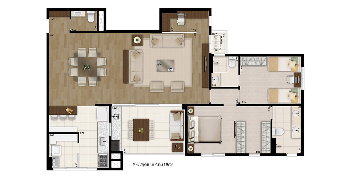 116 M² - 2 SUÍTES. Apartamento em Alphaville com 2 amplas suítes e excelente Living com 9 metros de ponta a ponta, infra para ar-condicionado, Home Office e Lavabo além do Terraço Gourmet com previsão para churrasqueira.