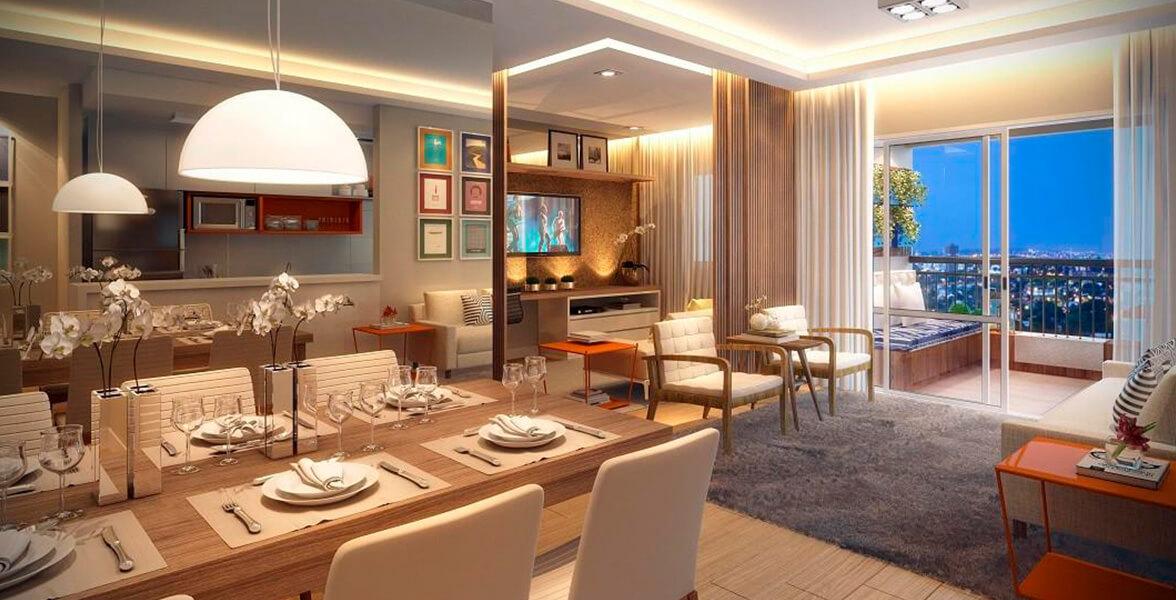 LIVING AMPLIADO do apto de 86 m² que possibilita uma reservada sala TV.