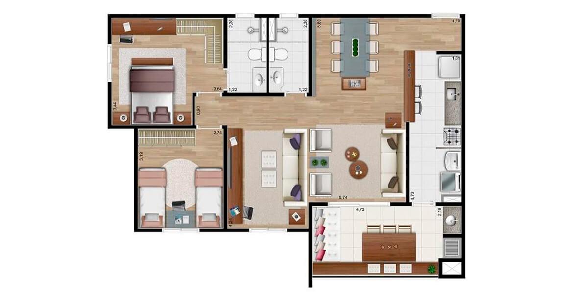 86 M² - 2 DORMS., SENDO 1 SUÍTE. Apartamento em Paulínia com living ampliado, possibilitando uma reservada sala de TV. A área social é o grande destaque do apto, com cozinha americana e varanda gourmet integrada com a sala e a cozinha. 2 vagas!