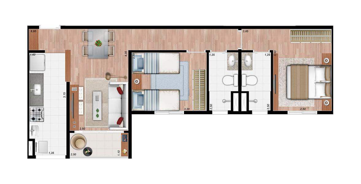 58 M² - 2 DORMS., SENDO 1 SUÍTE. Apartamento em Paulínia de 2 dormitórios com suíte para o casal e 2 banheiros com ventilação natural. A sala se integra à cozinha e ao terraço. Ótimo preço!