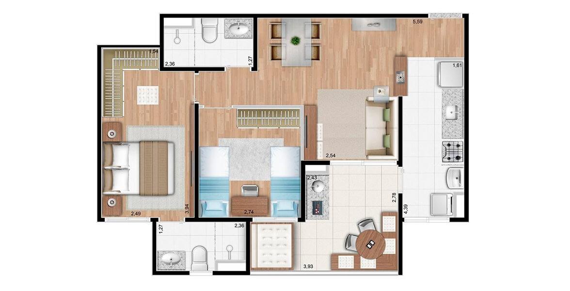 Planta do Terrazzo Limeira. 67 M² - 2 DORMS., SENDO 1 SUÍTE. Apartamento na Vila Santa Rosália com 2 dormitórios, sendo uma suíte com closet para o casal. O Terraço Gourmet tem passagem direta para Cozinha. Ótimo preço!