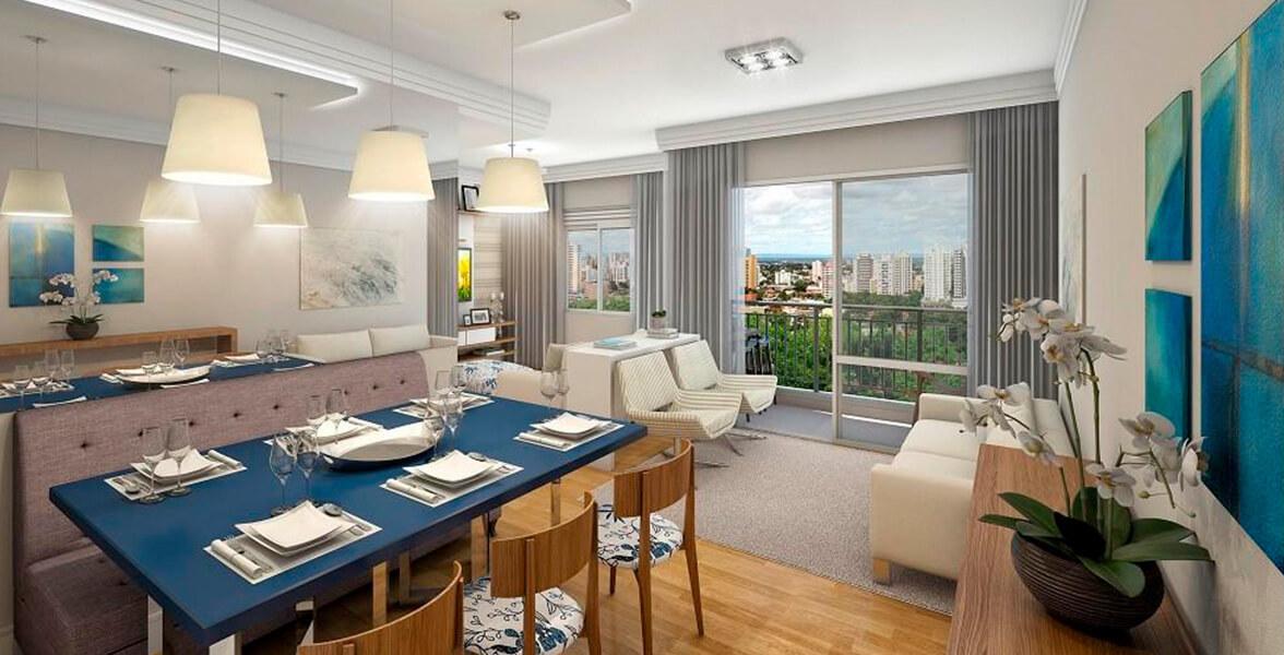 LIVING AMPLIADO do apto de 69 m² bem confortável, se integra muito bem ao terraço.