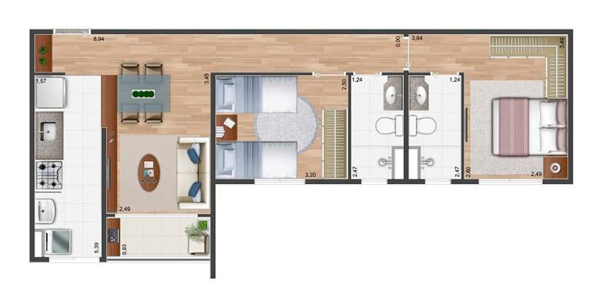 58 M² - 2 DORMS., SENDO 1 SUÍTE. Apartamento no Jardim Chapadão de 2 dormitórios com suíte para o casal e 2 banheiros com ventilação natural. A sala se integra à cozinha e ao terraço. Ótimo preço!