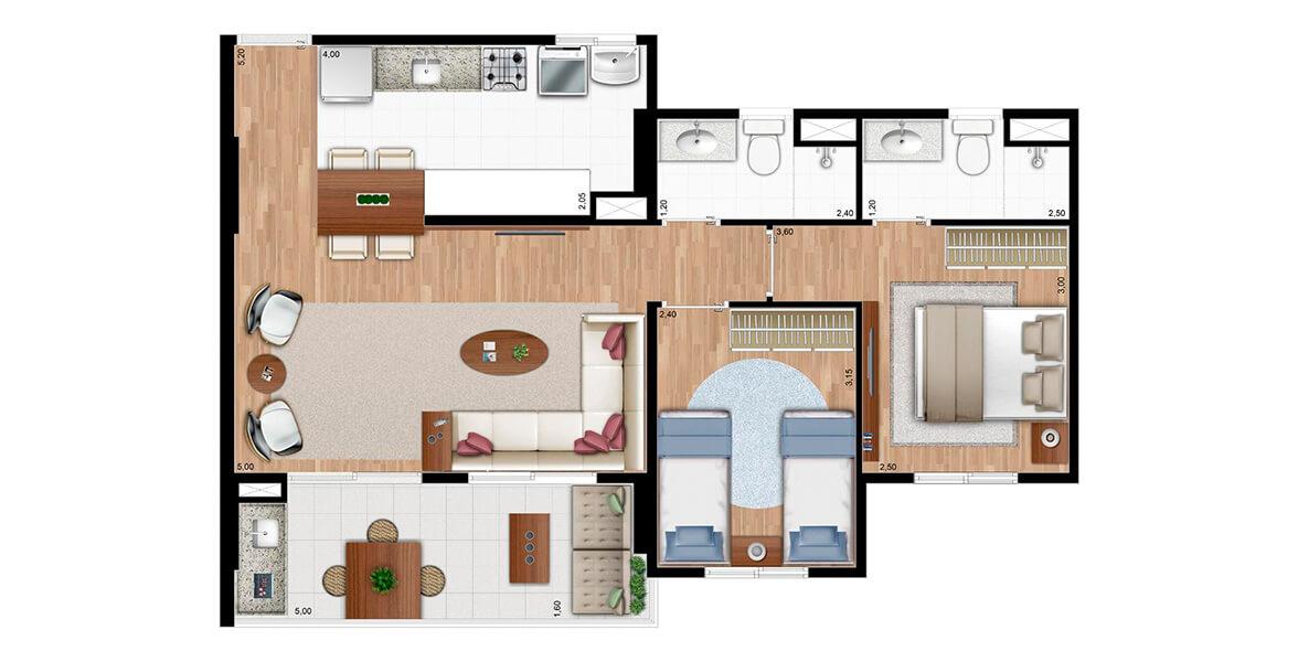 Planta do Essence Residencial. 64 M² - 2 DORMS., SENDO 1 SUÍTE. Apartamento no Jardim Aurélia com 2 dormitórios, sendo uma suíte para o casal com infra para ar-condicionado. A varanda com 5 m de frente é o grande destaque do apto.