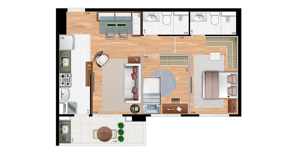 61 M² - 2 DORMS., SENDO 1 SUÍTE. Apartamento em Campinas com 2 dormitórios, para famílias com filhos, ou com pretensão de ter em breve. A ótima varanda em L se integra tanto à sala quanto à cozinha.