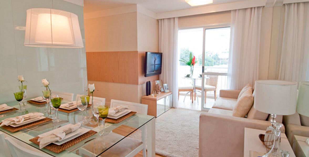 LIVING do apto de 60 m² com boa iluminação e ventilação natural do Allegro Jardim Avelino