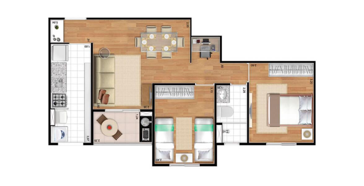 Planta do Allegro Jardim Avelino. 50 M² - 2 DORMS., SENDO 1 SUÍTE. Apartamento no Jardim Avelino com 2 dormitório. A sala se integra ao terraço, com espaço para home office (ou uma bela adega). Ótimos preços!