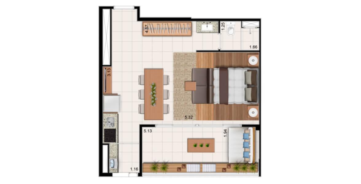 52 M² - STUDIO. Apartamento com incrível terraço de 5 m de frente e guarda-corpo de alumínio e vidro, integrado à confortável área interna, o que é raro num apto studio. Ótimo para morar e investir!