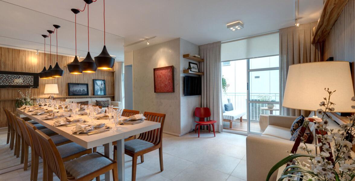 LIVING do apto de 70 m² com boa iluminação e ventilação natural.