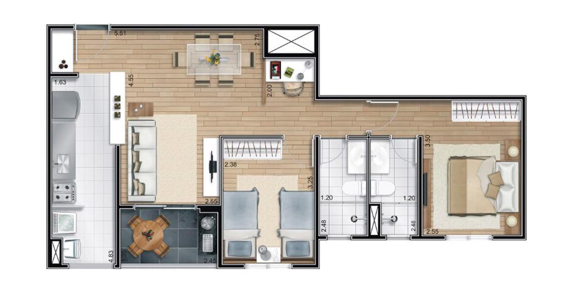 64 M² - 2 DORMS., SENDO 1 SUÍTE. Apartamento na Freguesia do Ó com 2 dormitórios, com uma suíte para o casal. A sala se integra ao terraço e à cozinha, com espaço para home office (ou uma bela adega). Ótimos preços!