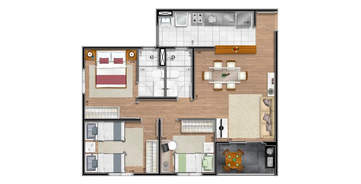70 M² - 3 DORMS., SENDO 1 SUÍTE. Apartamento na Freguesia do Ó com 3 dormitórios para casais com até 3 filhos. A suíte é confortável e tem banheiro ventilado naturalmente. No living há confortável espaço para a mesa de jantar ao lado da bancada.