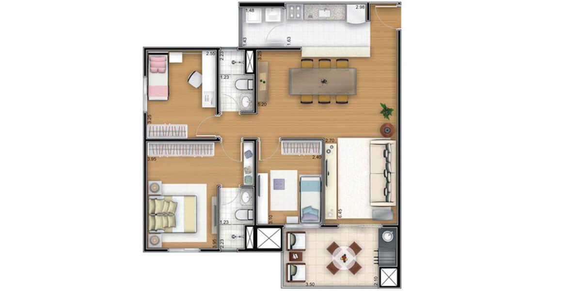 88 M² - 3 DORMS., SENDO 1 SUÍTE. Apartamento no Butantã com 3 dormitórios, sendo uma ampla suíte para o casal. A área social conta com cozinha americana e amplo terraço entregue com churrasqueira.