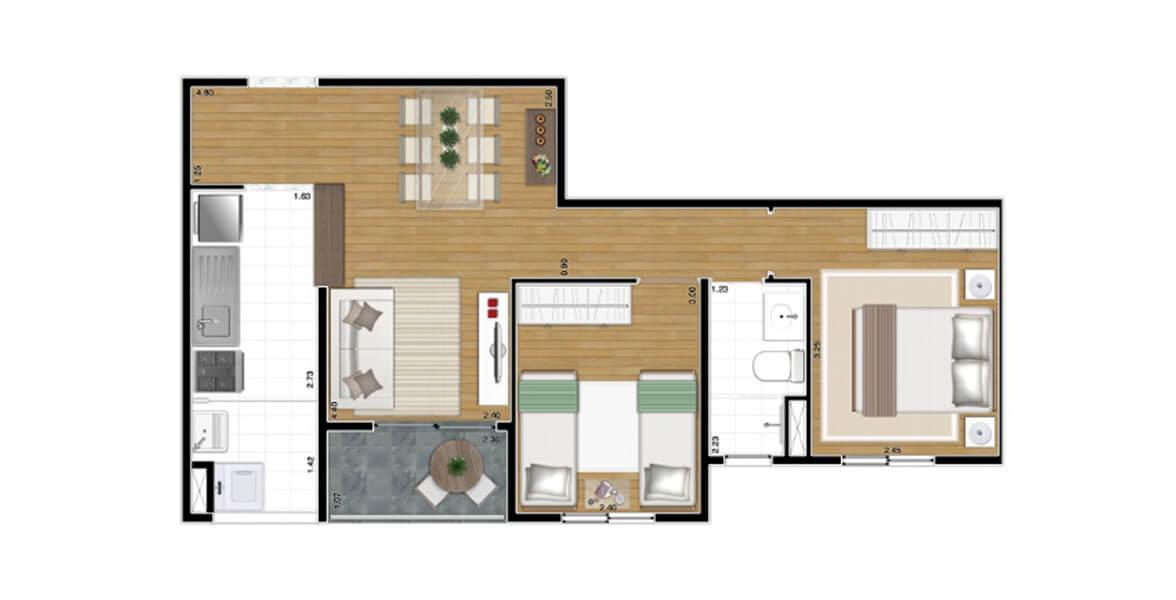 51 M² - 2 DORMS. Apartamento na Vila Carrão com 2 dormitórios, sendo uma suíte para o casal. A sala se integra ao terraço e à cozinha, com espaço para uma bela adega ao lado da mesa de jantar. Ótimos preços!