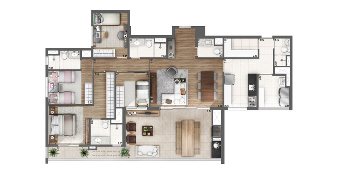 149 M² - 4 DORMS., SENDO 2 SUÍTES. Apto na Vila Madalena de 4 dormitórios para grandes famílias, com destaque para a suíte master do casal com amplo closet, acesso direto ao terraço e infraestrutura para ar-condicionado.