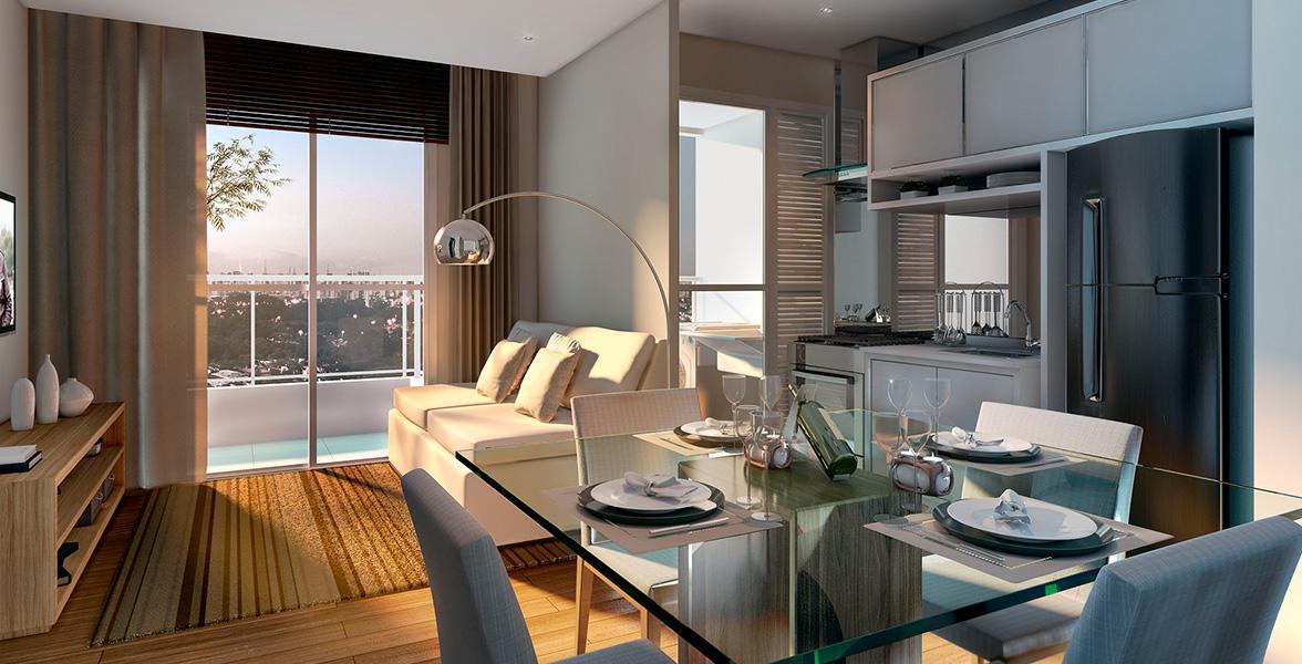 LIVING do apto de 47 m² com ambientes todos integrados.