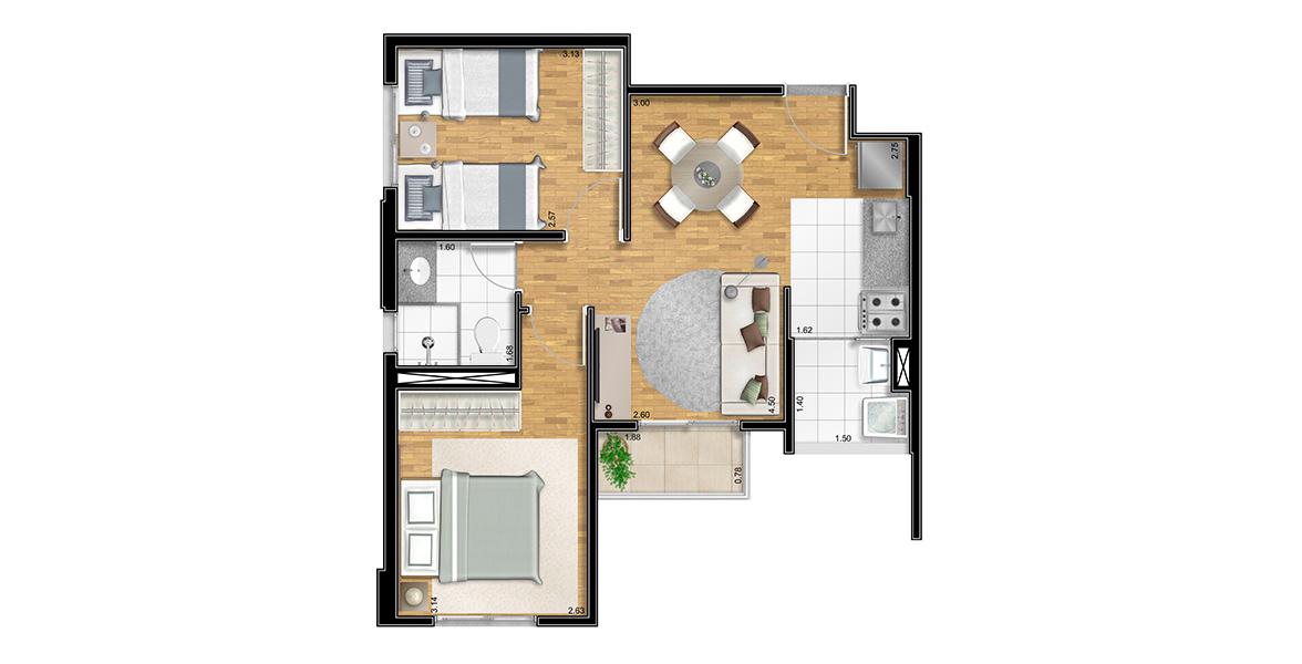 47 M² - 2 DORMS. Apartamento no Tatuapé com 2 dormitórios e um banheiro com iluminação e ventilação natural. É uma planta muito boa, sem corredores, aproveitando ao máximo cada m².