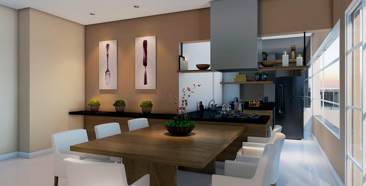 ESPAÇO GOURMET com cozinha completa. Você pode contratar um personal chef a partir dos serviços pay-per-use.