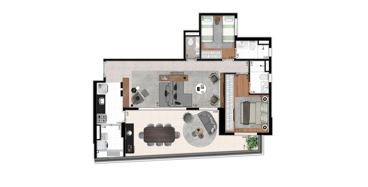 101 M² - 2 SUÍTES. Apartamento na Vila Madalena com Living ampliado somando uma boca de sala de mais de 7 m, integrada ao Terraço e à Cozinha, com apoio de Lavabo. A Suíte do casal conta com ampla espaço para armário.