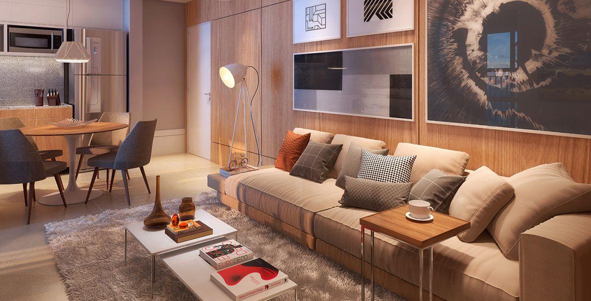 LIVING AMPLIADO do apto de 60 m² com infraestrutura para ar-condicionado.