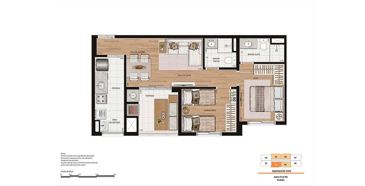 60 M² - 2 DORMS., SENDO 1 SUÍTE. Apartamento na Penha com 2 dormitórios e um ótimo terraço, a extensão natural da Sala. A Suíte conta com infraestrutura para ar-condicionado para conforto do casal.