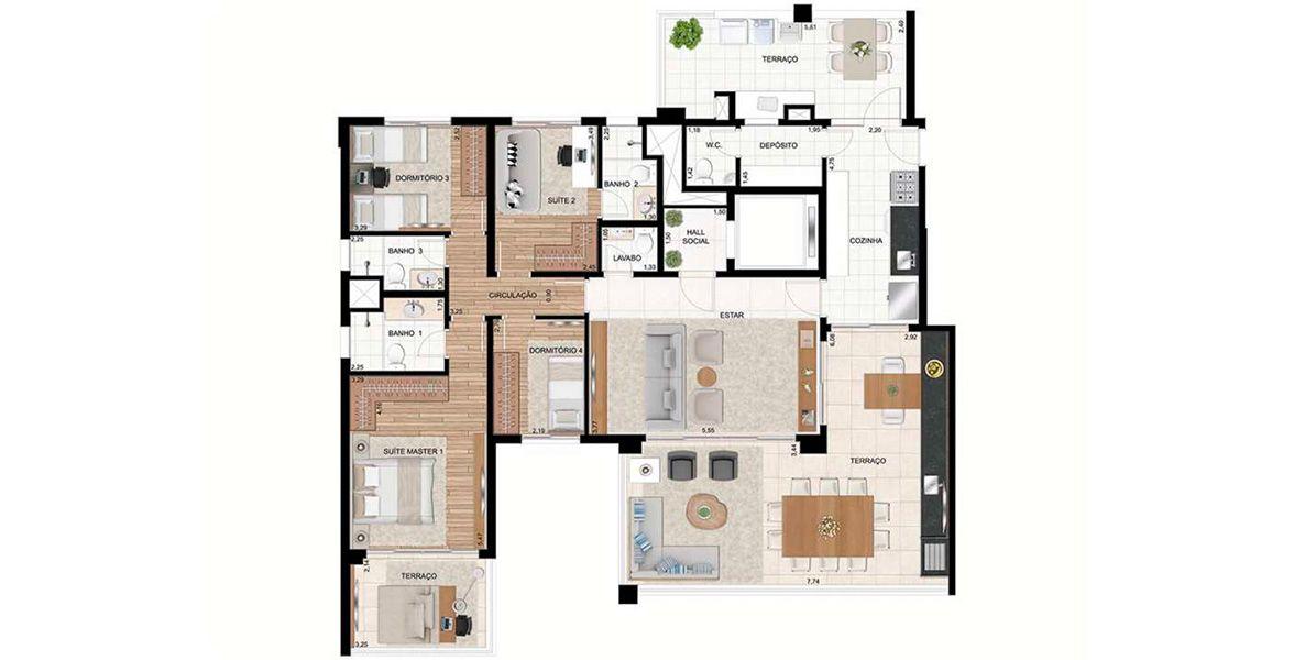 Planta do Le Premier Moema. 172 M² - 4 DORMS., SENDO 2 SUÍTES. Apartamento em Moema com hall social privativo, terraço gourmet com opção de churrasqueira e com acesso tanto pelo living como pela cozinha.