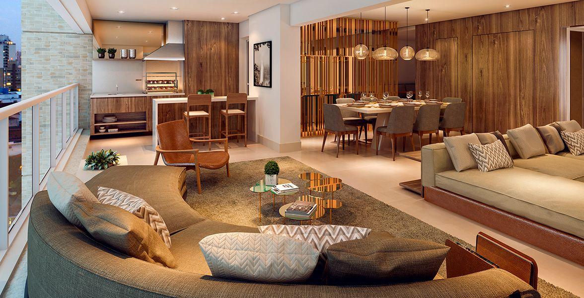 TERRAÇO GOURMET com opção de churrasqueira, guarda-corpo de vidro, integrado ao living e à cozinha.