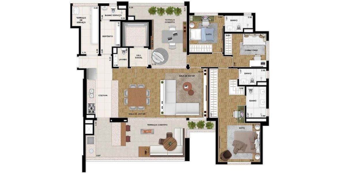 182 M² - 3 DORMS., SENDO 2 SUÍTES. Apartamento em Moema com Living ampliado acessível por Hall Social privativo, com apoio de Lavabo e 2 terraços, um em cada ponta, proporcionando uma agradável ventilação cruzada. Tem ótima suíte master c/ 2 banheiros.