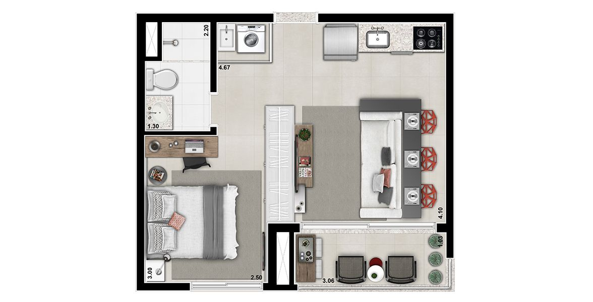 Planta do Up Style Brooklin. 36 M² - STUDIO. Studio no Brooklin com um dormitório bastante reservado e infraestrutura para ar-condicionado. Tem ótima integração com o Terraço devido às amplas portas de vidro.