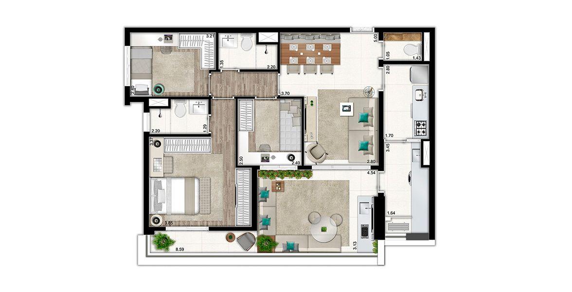 95 M² - 3 DORMS., 1 SUÍTE. Apartamento na Vila Clementino de 3 dormitórios e Living com apoio de Lavabo e integração piso-teto com piso nivelado com o Terraço, que acumula função de Estar. Conta com infra p/ ar condicionado no living e nos dormitórios.
