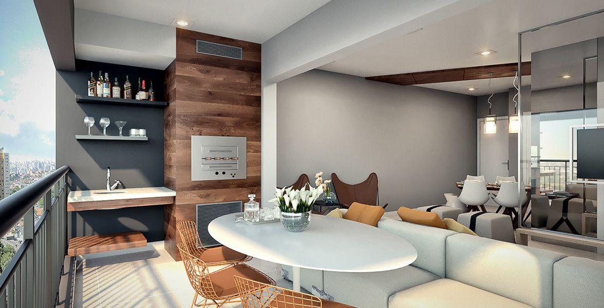 TERRAÇO GOURMET do apto de 73 m² com churrasqueira.