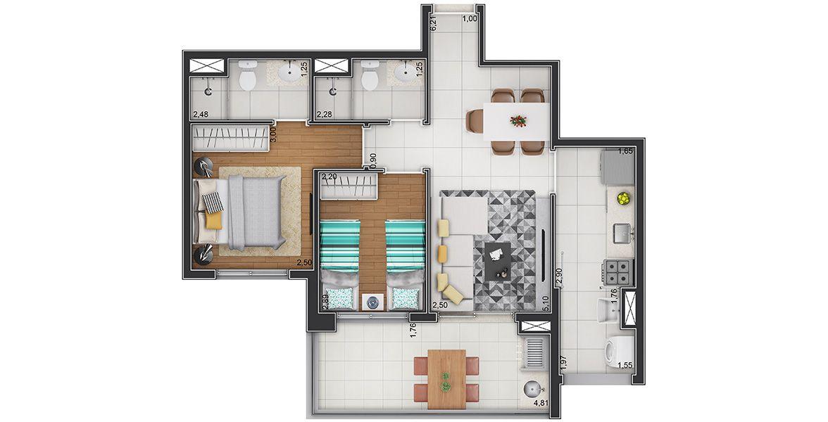 61 M² - 2 DORMS., SENDO 1 SUÍTE. Apartamento na Vila Matilde com 2 dormitórios e área social com living apoiado por amplo terraço gourmet em L com quase 5 m de frente e churrasqueira.