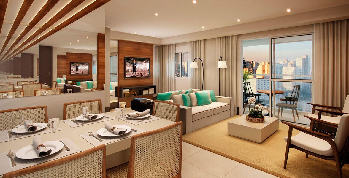 LIVING AMPLIADO do apto de 60 m² integrado ao terraço que tem guarda-corpo em alumínio e vidro.