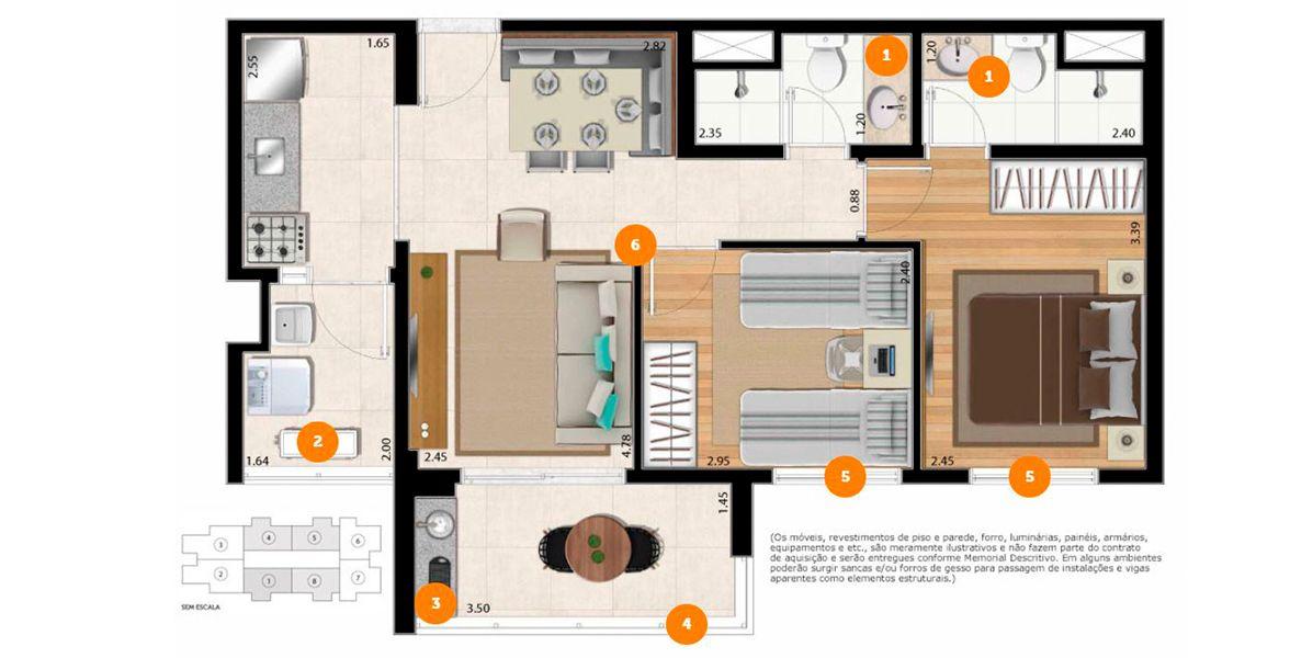 57 M² - 2 DORMS., SENDO 1 SUÍTE. Apartamento na Barra Funda com 2 dormitórios, ambos com janela com persiana de enrolar. Um raro apto compacto para a família com infraestrutura para ar-condicionado.