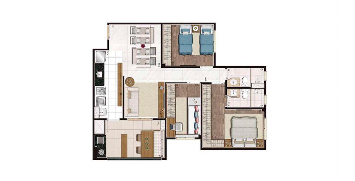 Planta do Living Celebration. 83 M² - 3 DORMS., SENDO 1 SUÍTE. Apartamento no Taquaral com 3 dormitórios, com destaque para a suíte master com amplas janelas com persianas de enrolar e amplo espaço para armário. A área social também conta com amplo terraço gourmet.