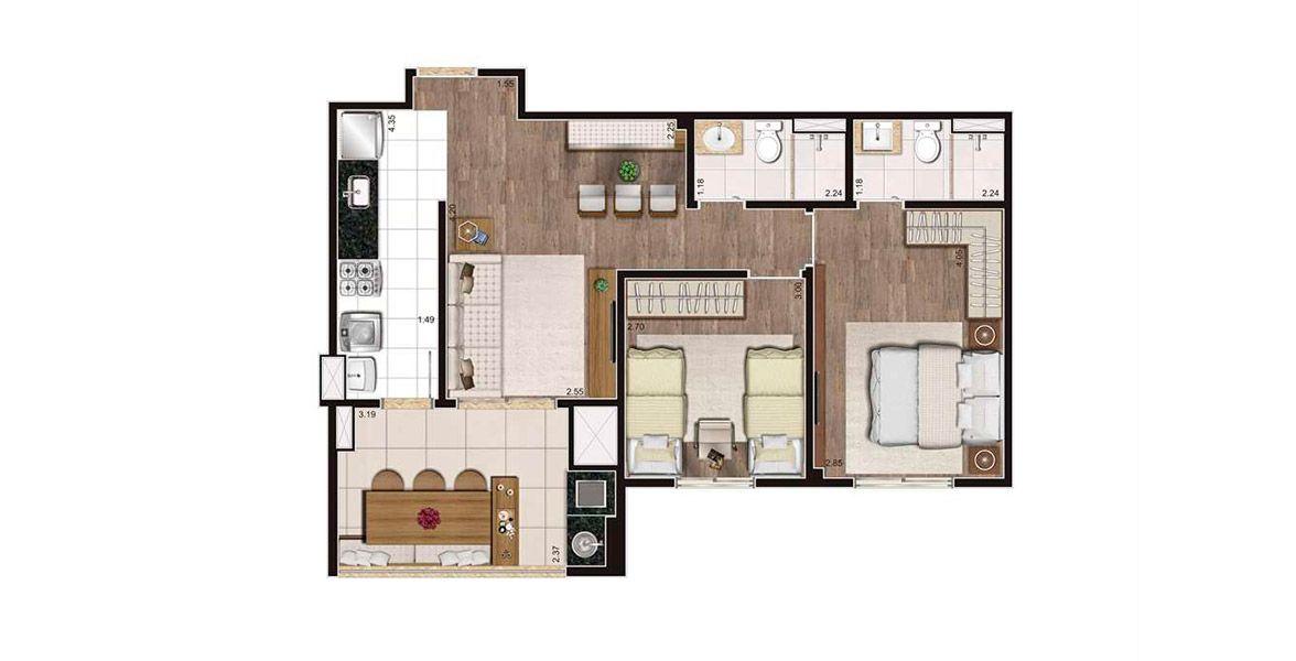 Planta do Cyrela Heredità. 64 M² - 2 DORMS., SENDO 1 SUÍTE. Apartamento no Campestre com 2 dormitórios e um amplo terraço gourmet com churrasqueira integrado à sala e à cozinha, tornando-se o destaque do apto.