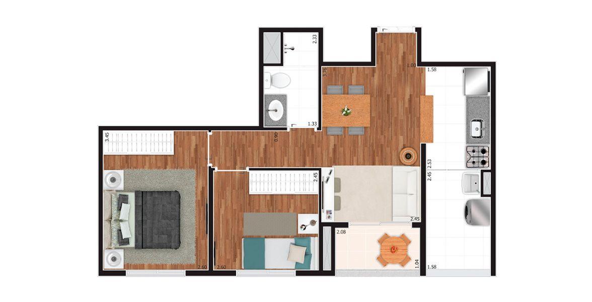48 M² - 2 DORMS. Apartamento no Tatuapé com 2 dormitórios com cozinha americana e varanda integrada à sala. Especial para famílias que buscam o primeiro apto. Uma vaga.