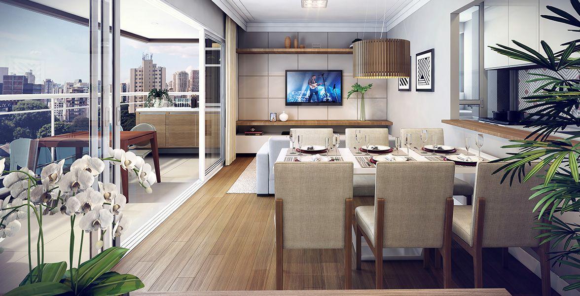 LIVING do apto de 66 m² integrado à cozinha (à direita) e completamente integrado ao terraço (à esquerda) por amplas portas de vidro.
